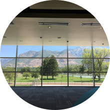 East Mountain window view from inside New Bridge School.
